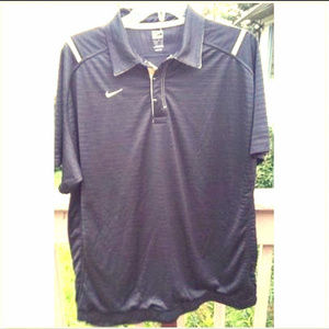 Nike Team FitDry ~ Black Golf Polo Shirt ~ Gold